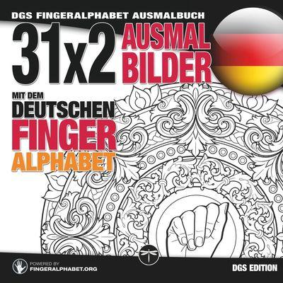 31x2 Ausmalbilder mit dem deutschen Fingeralphabet