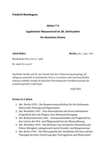 Aktion T4 - Legalisierter Massenmord im 20. Jahrhundert