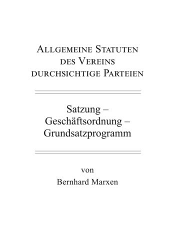 Allgemeine Statuten des Vereins durchsichtige Parteien