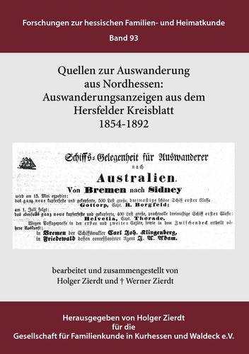 Auswanderungsanzeigen aus dem Hersfelder Kreisblatt 1854-1892