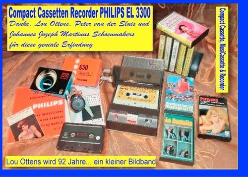 Compact Cassetten Recorder Philips EL 3300 - Danke, Lou Ottens, Johannes Jozeph Martinus Schoenmakers und Peter van der Sluis für diese geniale Erfindung!
