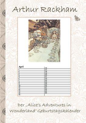 Der 'Alice's Adventures in  Wonderland' Geburtstagskalender
