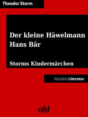 Der kleine Häwelmann - Hans Bär