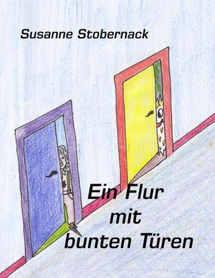 Ein Flur mit bunten Türen