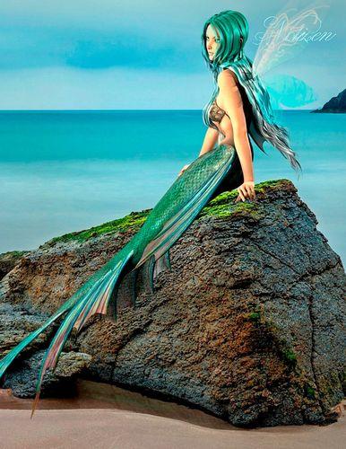 Fantasy Notizbuch: Elandra, die Meerjungfrau - weiße Seiten mit Eckmotiv