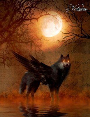 Fantasy Notizbuch: Schattenwolf - weiße Seiten mit Eckmotiv