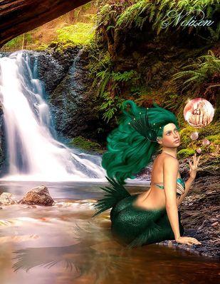 Fantasy Notizbuch: Tjirell, die Meerjungfrau - weiße Seiten mit Eckmotiv