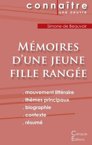 Fiche de lecture Mémoires d'une jeune fille rangée de Simone de Beauvoir (Analyse littéraire de référence et résumé complet)