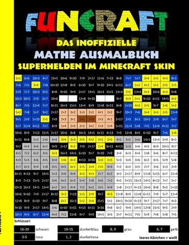 Funcraft - Das inoffizielle Mathe Ausmalbuch: Superhelden im Minecraft Skin (Cover Batman)