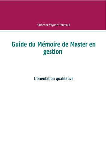 Guide du Mémoire de Master en gestion