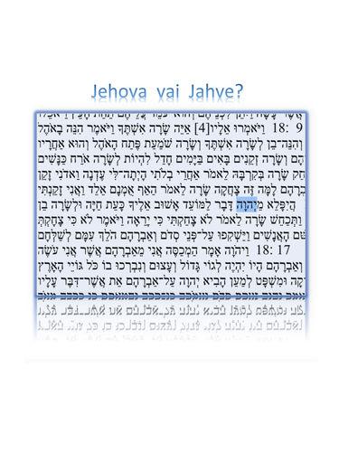 Jehova vai Jahve?