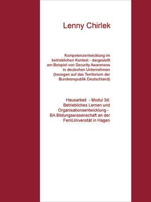 Kompetenzentwicklung im betrieblichen Kontext - dargestellt am Beispiel von Security Awareness in deutschen Unternehmen (bezogen auf das Territorium der Bundesrepublik Deutschland)