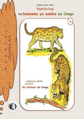 Napakola langi na banyama ya zamba ya Congo Je colorie les animaux sauvages du congo