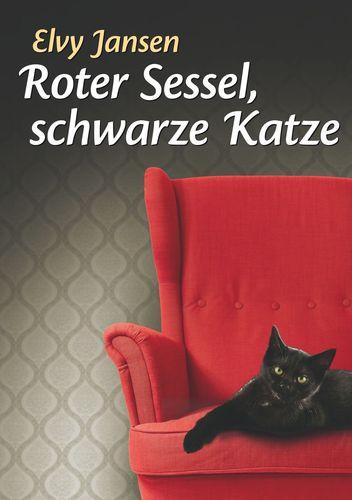 Roter Sessel, schwarze Katze