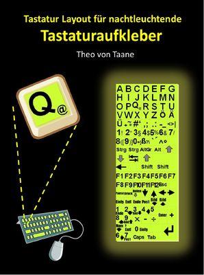 Sehschwäche - Tastaturlayout (deutsch, extra große Schriftzeichen) für nachtleuchtende Tastaturaufkleber
