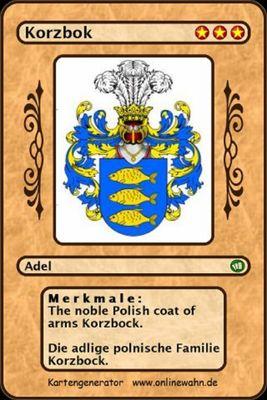 The noble Polish coat of arms Korzbock. Die adlige polnische Familie Korzbock.