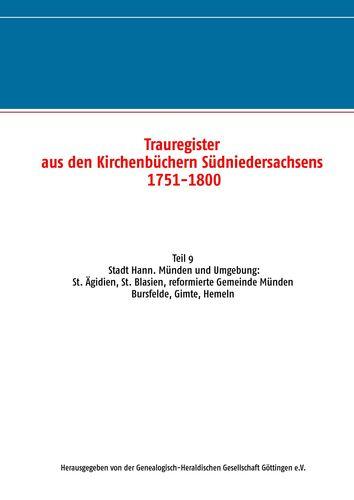 Trauregister aus den Kirchenbüchern Südniedersachsens 1751-1800