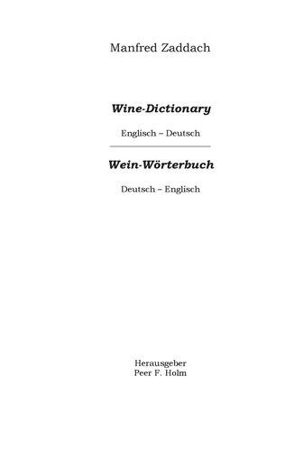 Weinwörterbuch Deutsch-Englisch / Englisch-Deutsch